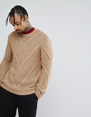 Asos Design Knitted Midweight Textured Sweater With Cable Panels-Brown