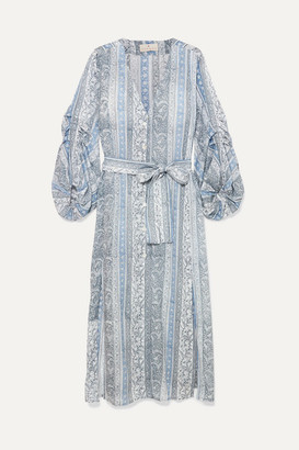 Hannah Artwear - Shaanti Printed Crepe De Chine Midi Dress - Blue