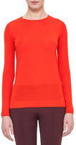 Akris Long-Sleeve Jewel-Neck Pullover, Papaya