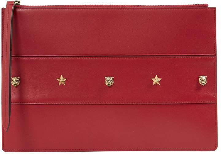 Gucci Red Leather Clutch Bag