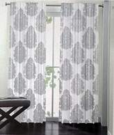 Nicole Miller Pair of Window Panels Curtains Drapery Set of 2 Metallic Silver Gray Paisely Medallions on White 52 Inches by 96 Inches