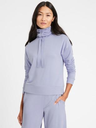 Banana Republic Petite Ruche-Neck Fleece Sweatshirt