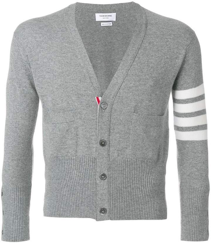 Thom Browne Short V-Neck Cardigan With 4-Bar Stripe In Light Grey Cashmere