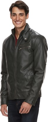 X-Ray Men's Slim-Fit Faux-Leather Moto Jacket
