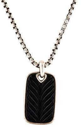 David Yurman Onyx Sculpted Dog Tag Pendant Necklace