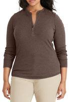 Lauren Ralph Lauren Plus Cotton Half-Zip Top