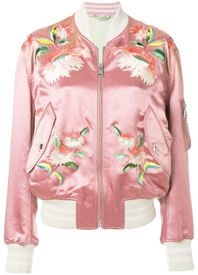 Gucci floral embroidered bomber jacket