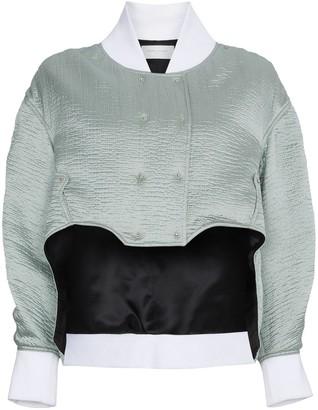 Esteban Cortazar Cropped Silk Bomber Jacket