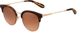 BCBGMAXAZRIA Metal/Acetate Brow-Line Sunglasses