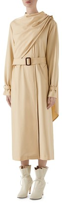 Gucci Wool Drape Front Trench Coat