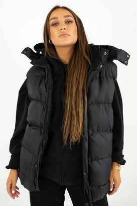 Sian Marie Quilted Black Zip Padded Gilet with Detachable Hood