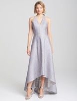 Halston Halter Neck Jacquard Gown