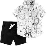 Carter'S carter's& 2-Piece Safari Animal Set in Black/White