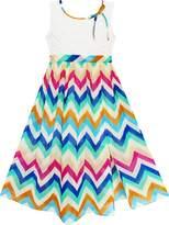 Sunny Fashion HA83 Girls Dress Lace Bodice Multicolor Wave Rainbow Striped