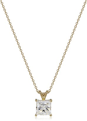 """Swarovski La Lumiere Yellow gold-Plated Sterling Silver Zirconia Princess-Cut Solitaire Pendant Necklace (3 CTTW) 16""""+2"""""""