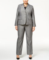 Le Suit Plus Size Mélange Three-Button Pantsuit