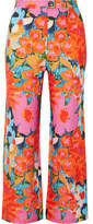 Mara Hoffman Arlene Floral-print Tencel And Linen-blend Flared Pants - Pink