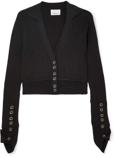 3.1 Phillip Lim Ribbed Wool-blend Cardigan - Black