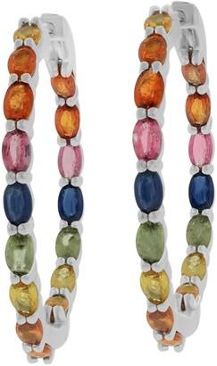 9.00 cttw Multi Sapphire Hoop Earrings, Sterling