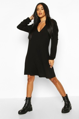 boohoo Jersey V Neck Puff Sleeve Mini Dress