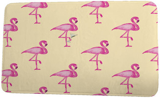 e by design Palm Beach Flamingo Fanfare Martini Animal Print Bath Mat, Yellow, 24""