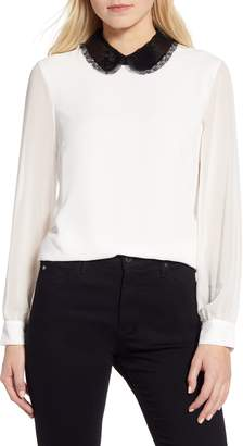 CeCe Sequin Collar Blouse