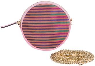 K'ai&Vrosi Cona Pink Leather Round Purse With Handloomed Peshtemal