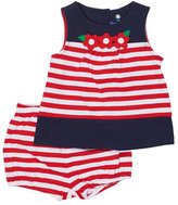 Florence Eiseman Sleeveless Striped Stretch Jersey Dress w/ Bloomers, Blue/Red, Size 3-24 Months