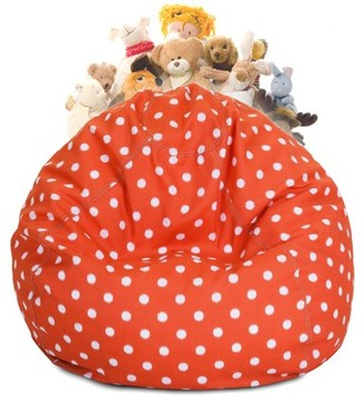 Majestic Home Goods Ikat Dot Stuffed Animal Storage Bean Bag Chair Cover w/ Transparent Mesh Base, Multiple Colors