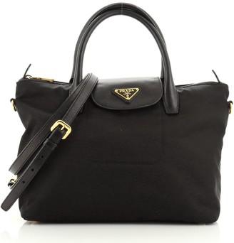 Prada Convertible Flap Tote Tessuto and Saffiano Leather Medium
