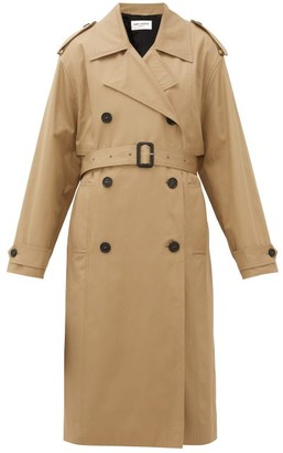 Saint Laurent Exaggerated-collar Cotton Trench Coat - Womens - Beige