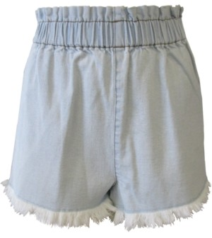 Tinseltown Juniors' Pull-On Frayed Denim Shorts