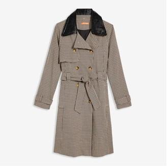 Joe Fresh Women's Plaid Trench Coat, Dark Camel (Size S)