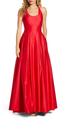 Morgan & Co. Back Cutout Satin Ballgown