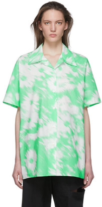 MSGM Green and White Watercolor Short Sleeve Shirt