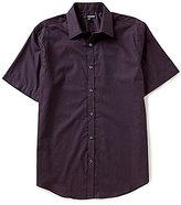 Murano Short-Sleeve Point Collar Vines Print Shirt