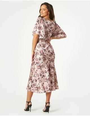 Little Mistress Elon Mink Floral-Print Satin Asymmetric Midaxi Dress