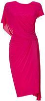 Donna Karan Shocking Pink Ridge Pleated Low Back Dress