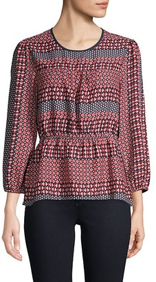 BCBGMAXAZRIA Geometric-Print Balloon-Sleeve Top