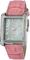 Peugeot Women's Silvertone Crystal Bezel Pink Leather Watch