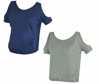 Mysocks 2 Pack Cold Shoulder Tshirt Blue Grey L