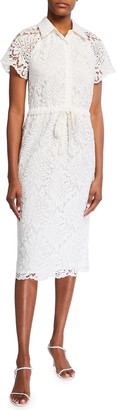 Trina Turk Lakeside Tie-Waist Midi Lace Dress