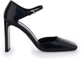 Prada Squared-Toe Ankle Strap Pumps