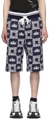Dolce & Gabbana Navy and White Crown Logo Shorts