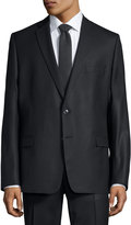 Versace Pinstripe Two-Piece Wool Suit, Black Pattern