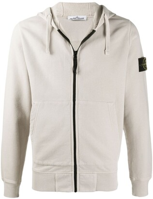Stone Island Cotton Zip-Front Hoodie With Logo Patch