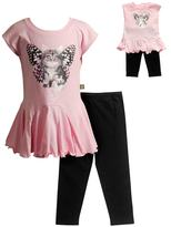 Dollie & Me Girls 4-14 Photoreal Butterfly Cat Drop-Waist Mini Dress & Capri Leggings Set