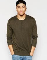 Asos Grandad Neck Sweater in Khaki Cotton