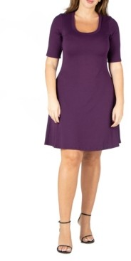 24seven Comfort Apparel Women's Plus Size Fit and Flare Elbow Sleeves Dress