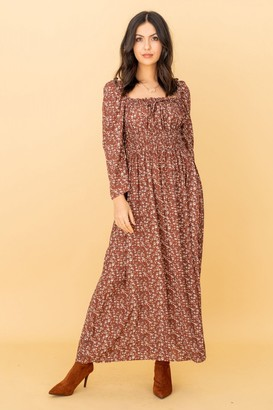 LIENA Square Neck Ruched Midaxi Dress in Brown Ditsy Floral Print